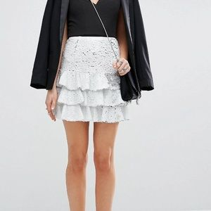 White and Silver Sequin Mini skirt